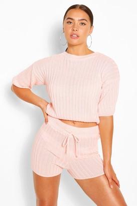 boohoo Rib Knit Top & Shorts Co-ord