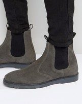 Asos Chelsea Boots With Thick Sole In Grey Suede