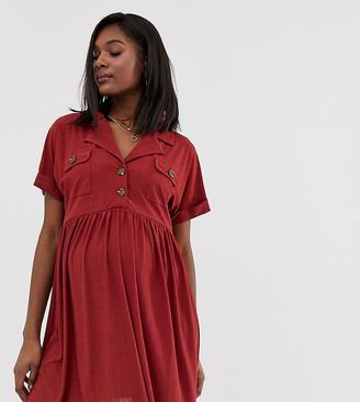 Asos DESIGN Maternity mini textured smock dress with button detail-Orange