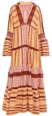 Dodo Bar Or Tiered Gingham Cotton-jacquard Maxi Dress