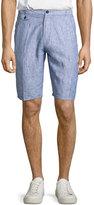 Neiman Marcus Linen Pencil-Stripe Shorts, Midnight
