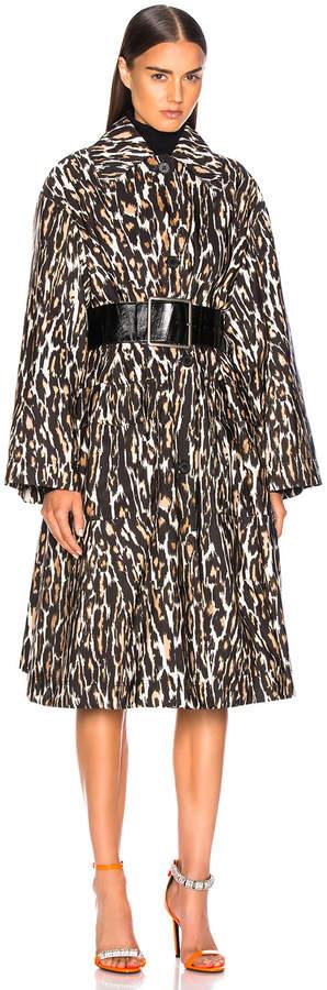 Calvin Klein Leopard Print Coat in Ivory, Brown & Black   FWRD