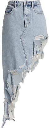 alexanderwang.t Heavy Fray Asymmetric Denim Skirt