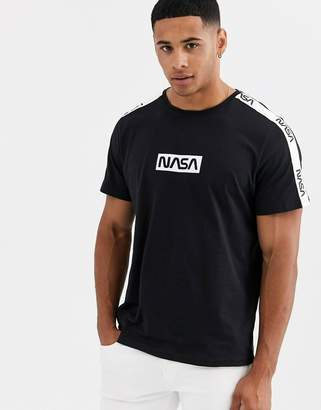 ONLY & SONS NASA striped sleeve t-shirt in black