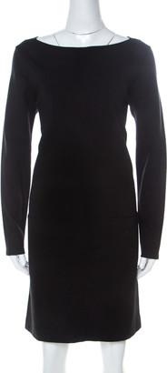 Ralph Lauren Black Stretch Knit Leather Trim Detail Shift Dress L