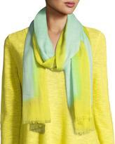 Eileen Fisher Neon Borders Silk Wool Scarf, Pale Aqua
