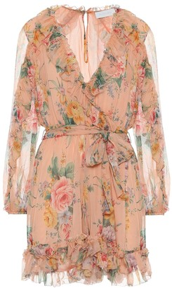 Zimmermann Zinnia floral silk wrap minidress