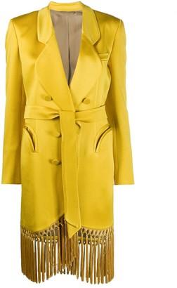 BLAZÉ MILANO Fringed Hem Longline Blazer Jacket