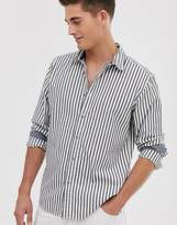Esprit slim fit shirt with vertical stripe in gray