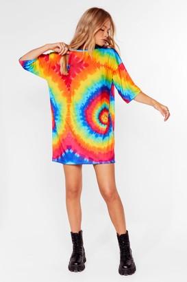 Nasty Gal Womens Be Hippy Tie Dye Tee Dress - Yellow