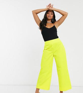 ASOS DESIGN Petite wide leg shell pant in bright yellow