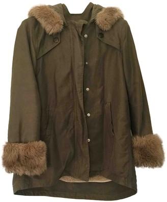 Pinko Khaki Cotton Coat for Women