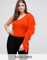 Asos Body With One Sleeve Ruffle
