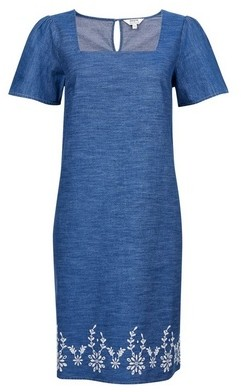 Dorothy Perkins Womens Blue Broderie Shift Cotton Dress, Blue