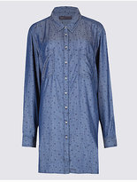 M&S Collection PLUS Denim Star Print Longline Shirt