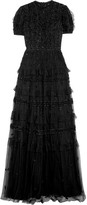 Needle & Thread Jet Frill Ruffled Embellished Tulle Gown - Black