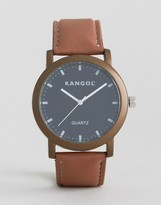 Kangol Tan Watch With Round Black Dial