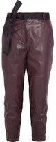 Brunello Cucinelli Cropped Leather Straight-leg Pants - Merlot