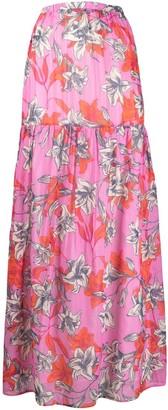 Black Coral Floral-Print Maxi Skirt