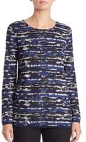 Lafayette 148 New York Jacquard Pleated-Back Sweater