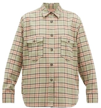 Etoile Isabel Marant Idaho Checked Cotton Shirt - Womens - Light Green