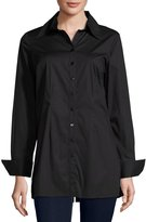 Neiman Marcus Button-Front Spread-Collar Blouse, Black
