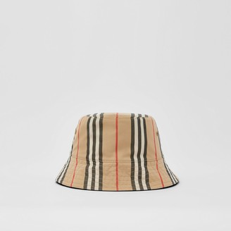 Burberry Reversible Icon Stripe Cotton Bucket Hat