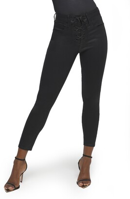 Good American Good Waist Lace Up Skinny Jeans