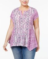 Style&Co. Style & Co Plus Size Mixed-Print Top, Created for Macy's