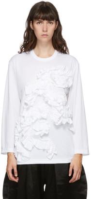 Comme des Garçons Comme des Garçons White Ruffle Long Sleeve T-Shirt