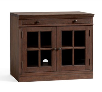 Pottery Barn Livingston Double Glass Door Cabinet, Brown Wash