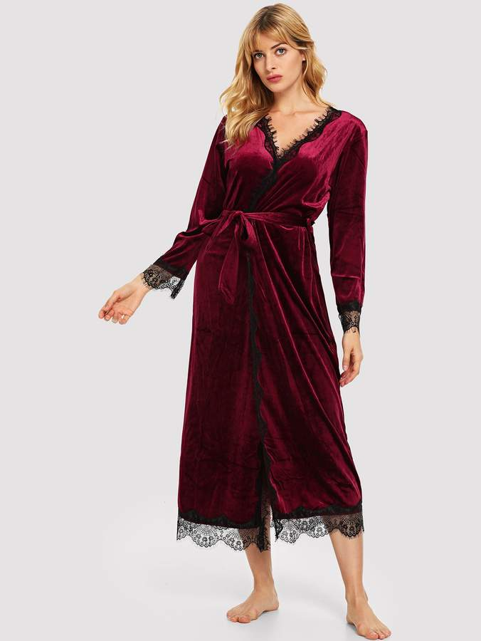 Contrast Lace Self Belted Velvet Robe