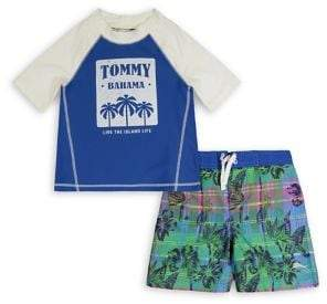 Tommy Bahama Boy's 2-Piece Logo Rashguard & Floral Swim Trunks