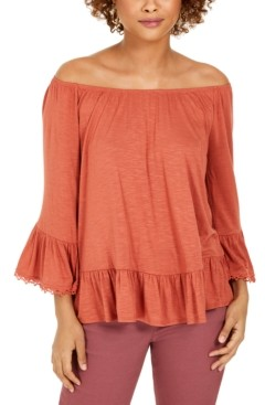 Style&Co. Style & Co Petite Off-The-Shoulder Ruffled Top, Created for Macy's