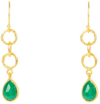 Latelita Linked Gemstone Drop Earring Gold Green Onyx