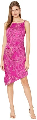 Milly Mishka Hibiscus Floral Viscose Dress (Magenta/Blush) Women's Dress