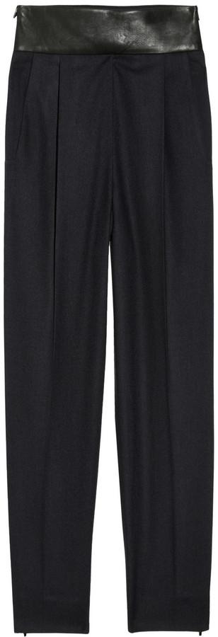 Diane von Furstenberg Ellis leather-trimmed twill pants