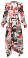 Alexander McQueen Rose-print Pussy-bow Silk Dress - Womens - Red Print
