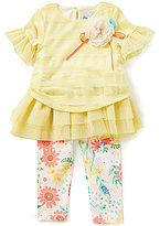 Rare Editions Little Girls 2T-6X Mesh Ruffle Top and Floral Leggings Set