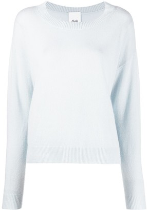 Allude Round Neck Ribbed-Knit Edge Jumper