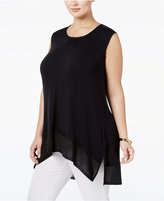Melissa McCarthy Trendy Plus Size Chiffon-Trim High-Low Top