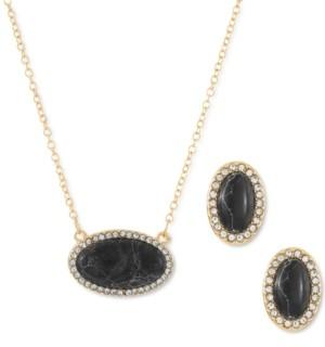 Alfani Pave & Marbelized Stone Pendant Necklace & Stud Earrings Set, Created for Macy's