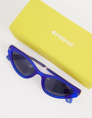 Polaroid X Love Island oval sunglases in gold with blue lens