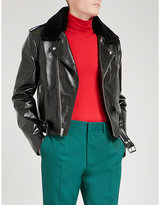 CALVIN KLEIN 205W39NYC Shearling collar horsehide leather jacket
