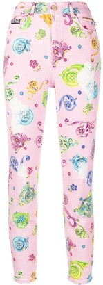 Versace High Rise Floral Print Skinny Jeans