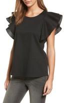 Pleione Women's Double Ruffle Sleeve Blouse