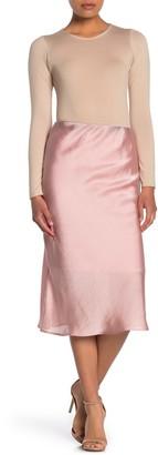 Forgotten Grace Pull-On Slit Satin Midi Skirt
