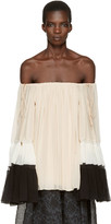 Chloé Tricolor Silk Off-the-shoulder Blouse