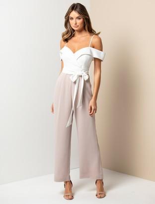 Forever New Seyda Petite Off-Shoulder Jumpsuit - Ivory/Pink - 10