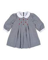 Florence Eiseman Long-Sleeve Collared Gingham Dress, Navy/White, Size 2-4
